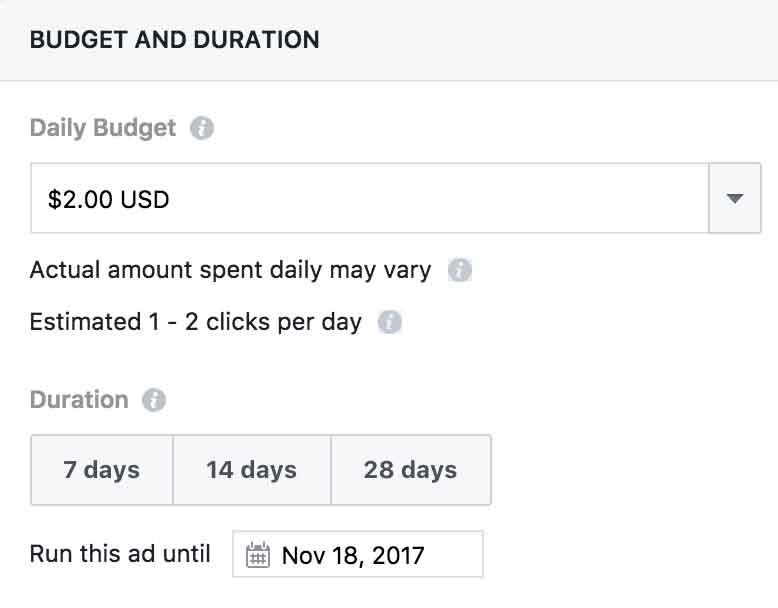 Set budget and campaign duration options on Facebook promotion.