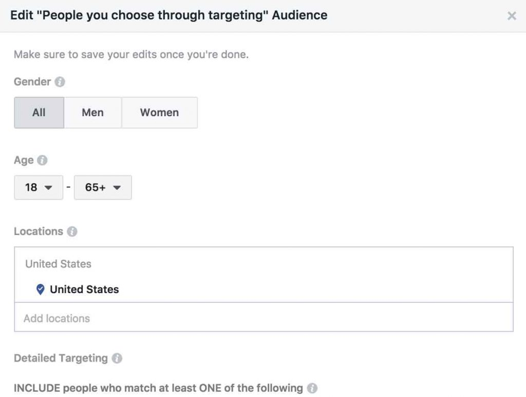 Editing options for Facebook audience targeting.