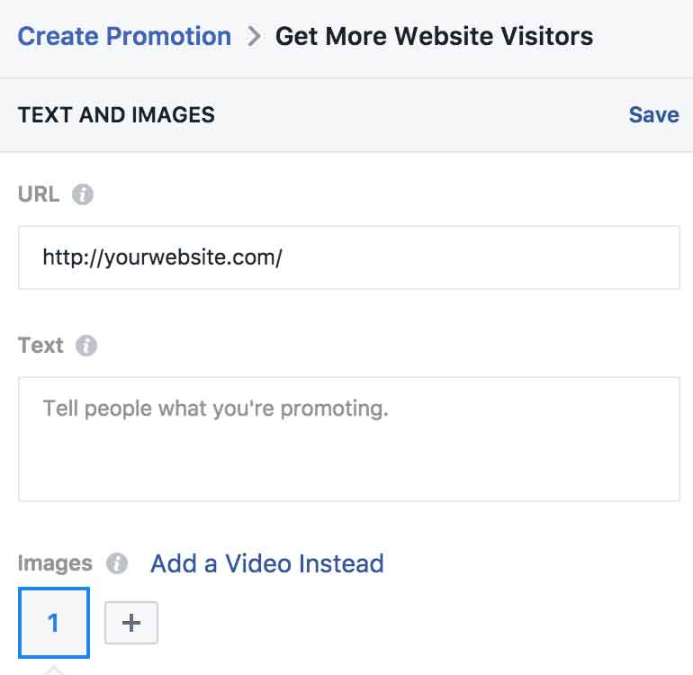 Edit options for Facebook ad copy