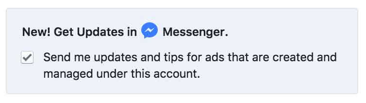 Checkbox option to get updates on ads in Messenger.